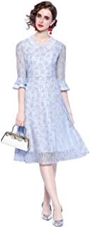 HAOKEKE 女式修身 V 领天蓝色蕾丝连衣裙 OL 优雅夏季服装连衣裙