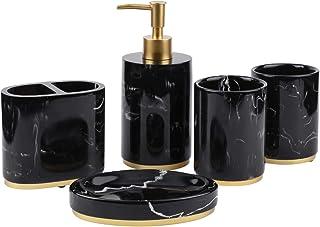 浴室配件套装 5 件套,树脂浴室套装配件带牙刷架、肥皂分配器、肥皂碟、平底杯、大理石图案浴室礼品套装 - 黑色带金色