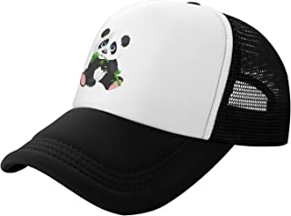 Lovely Panda Eat Bamboo 儿童网眼帽,夏季儿童棒球帽,可调节卡车司机网眼帽,适合女孩男孩,带印花熊猫风格黑色