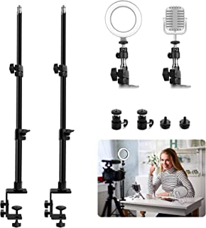 Obeamiu 2 件装 C 夹式桌面安装灯支架带 0.64 厘米球头和热鞋安装适配器,21-45 英寸可调节桌面支架,适用于数码单反相机、环形灯、视频监视器、麦克风网络摄像头