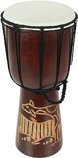 12 英寸(约 30.5 厘米)高,雕刻长颈鹿金杯鼓,直径 6.5 英寸(约 16.5 厘米)
