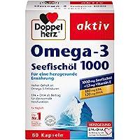 Doppelherz 海鱼油Omega-3 1000毫克 海鱼油加维生素E的食品补充 Omega-3,1 x 80粒