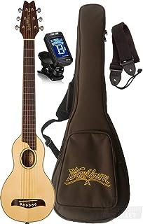 Washburn RO10SK Rover 云杉顶部原声旅行吉他,带袋,调谐器,表带(自然)