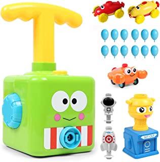 气球动力赛车发射汽车玩具,空气动力学汽车杆玩具,气泵科学实验玩具手推充气器汽车教育有趣的礼物,适合儿童男孩女孩(Flog)