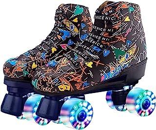 女式溜冰鞋 经典四轮滑冰鞋 PU 皮高帮溜冰鞋,适合青年和成人,带滑冰袋和工具