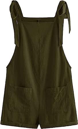 MakeMeChic 女式豹纹印花工装短裤,肩部系带连身裤,带口袋