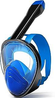 Relity *管面罩 全脸防雾浮潜面罩 防渗漏 180° 全景潜水面罩 带可拆卸相机安装浮潜装置 适合成人