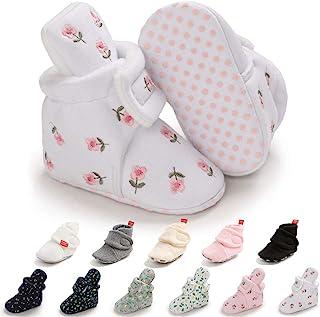 男婴女孩羊毛短靴棉质新生儿袜软底冬季保暖婴儿拖鞋防滑舒适婴儿床鞋