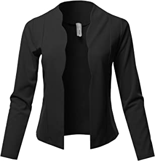 Awesome21 Women Solid Stretch 3/4 Gathered Sleeve Open Blazer Jacket Made In USA