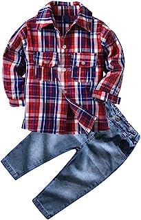 yilaku 幼儿男童套装西服套装婴儿服装新生儿婴儿男孩服装套装绅士格子上衣 + 领结 + suspender 裤