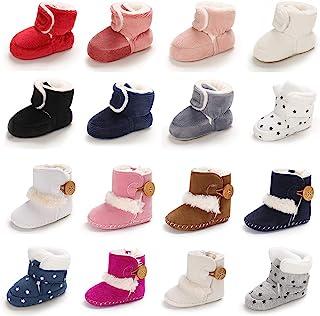 Meckior 婴儿女婴冬季雪地靴保暖羊毛软底新生儿防滑鞋学前靴