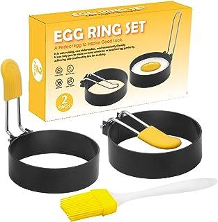 鸡蛋环套装鸡蛋环煎饼模具 2 件不粘鸡蛋环适用于英国松饼、煎饼、三明治厨房工具,带 1 个油刷