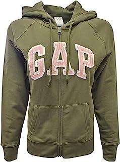 GAP 女式羊毛拱形标志全拉链连帽衫(XL 码,军*(粉色标志))