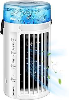 便携式空调风扇【2020 年*新】个人空气冷却器 迷你 4 合 1 空间蒸发空气冷却器 静音加湿器 雾化风扇 8 色 LED 灯 3 档速度 适用于办公室家庭房露营