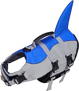 Songway 狗狗救生衣宠物漂浮救生背心狗救生衣带把手,适用于海滩、游泳池、划船 蓝色鲨鱼 大
