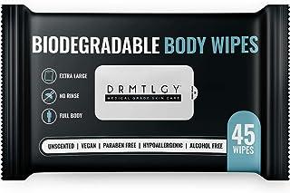 DRMTLGY 身体和面部淋浴湿巾 男女皆宜 - 45 张湿巾 XTRA 大型可生物降解无冲洗清洁湿巾适用于露营、运动、旅行等!