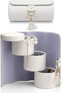 Vlando 旅行首饰卷便携式收纳收纳包旅行配件首饰盒收纳盒展示戒指、耳环、项链礼物送给女孩、女士(珍珠白)