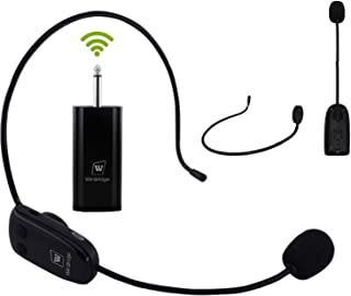 W WINBRIDGE 无线麦克风耳机,UHF 无线耳机麦克风发射器和接收器 6.35 毫米适用于 WB711 语音放大器,PA 扬声器系统,扩音器,混音器,不适用于蓝牙音箱/手机 WB008
