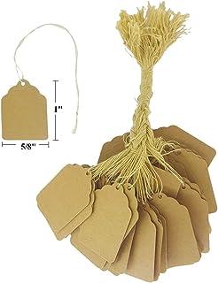 """100 件纸串标签、价格标签、优雅串牌、礼品、促销、活动或精品佳品 天然牛皮纸 1"""" x 5/8"""" StringTags"""
