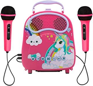 N\A 2 麦克风儿童卡拉 OK 唱歌幼儿卡拉 OK 唱歌机带语音转换器掌声蓝牙儿童伴唱卡拉 OK 玩具 适合圣诞节