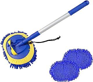 2 合 1 洗车拖把手套,带 2 个拖把头,40 英寸(约 101.6 厘米)可伸缩长手柄雪尼尔超细纤维洗拖把套件,免刮擦清洁工具除尘器用品,用于清洁大多数汽车