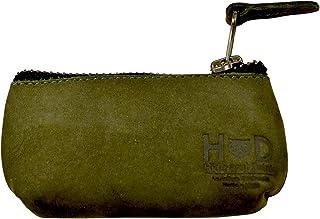 Hide & Drink,皮革钥匙扣袋,钥匙收纳袋,耳机支架,充电线,存储卡,手工制作,含 101 年质保:青苔藓