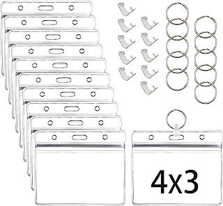 20 张卡片保护套和挂环,4 X 3 英寸(约 10.1 X 7.6 厘米)*记录身份证夹,透明乙烯基塑料套带防水型可重复密封拉链