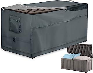 储物盒盖,快速打开露台甲板盒顶部带拉链和口袋 - 防水牛津布面料存储容器盖适用于花园甲板箱(灰色,63 x 30 x 62 英寸)