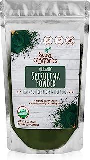 Super Organics Spirulina Powder | Naturally-Occurring Minerals - Organic, Vegan & Non-GMO, 8 Oz