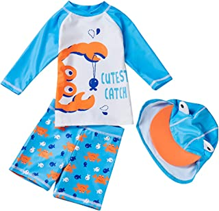 男婴 2 件套*泳衣 UPF50+ 儿童长袖卡通日光浴泳装套装带太阳帽