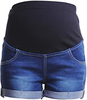 女式孕妇牛仔裤短裤腹部宽弹性带高腰弹力夏季孕妇舒适服装