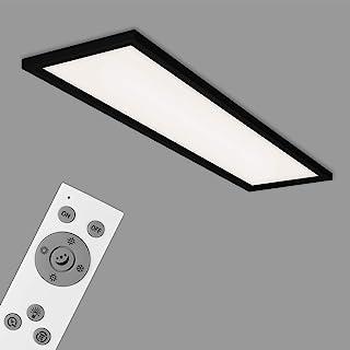 Briloner Leuchten - LED 吸顶灯,可调光吸顶灯,包括遥控器,色温控制,夜灯,定时器,36 W,3.800 流明,白色-黑色,1.195 x 295 x 80 毫米(长 x 宽 x 高),7372-015