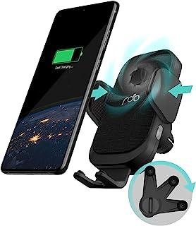 REDBEAN 无线车载充电器 15W 带 [散热风扇] Qi 快速充电自动夹紧 [360° 轻松锁定] 安装支架兼容 iPhone 11 Pro Max XS XR X 8 Plus 三星 S10 S9 S8(现代黑色)