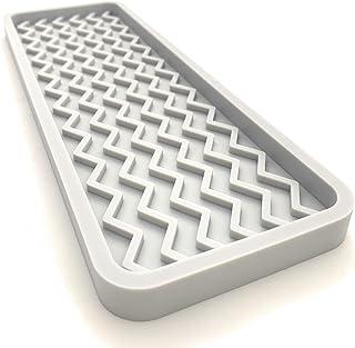 "SMRTLVNG 多功能硅胶水槽收纳托盘,12 英寸 x 4 英寸,9.2 盎司 浅灰色 12""x4"""
