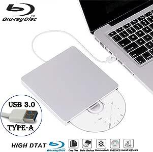 外置蓝光 DVD 驱动器录像机适用于笔记本电脑 USB3.0 便携式超薄自动插槽 CD/DVD-RAM/BD-ROM 重写/读卡器,带高速数据,适用于 Windows Mac OS(USB3.0 Type-A)