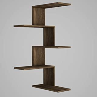 moebel17 5262 壁挂置物架 壁架 角架 适用于客厅、胡桃木、木材、4 个储物格,设计师架,51.5 x 109 x 22 厘米