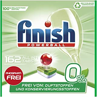 Finish 0% 多效合一洗碗机用洗涤块 无磷酸盐 可去除顽固油污 可回收 162片大包装,6包装(6 x 27片)