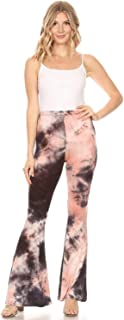 SWEETKIE 波西米亚喇叭裤,弹性腰围,女式阔腿裤,纯色印花,有弹力柔软 Peach Charcoal 1255 X-Small