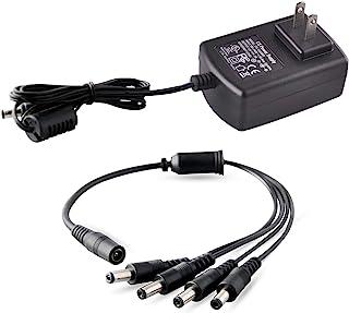 带适配器,ISEEUSEE 相机电缆 12V 2A 100V-240V 带 4 路功率分配器电缆 FCC UL 认证的 * 电源适配器变压器 - 模拟 /AHD DVR/相机