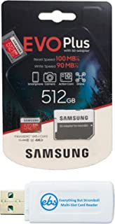 三星 512GB Evo Plus 微型 SD 卡 Class 10 SDXC 存储卡带适配器 (MB-MC512G) 带 (1) Everything But Stromboli Micro & SD 读卡器