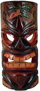 Happy Aloha Hawaii Kukana 大号 50.8 厘米 X 15.24 厘米宽 木雕棕榈树装饰/观赏 Tiki 面具