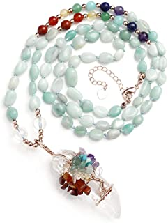 Jovivi 天然紫水晶玫瑰石英脉轮宝石*水晶项链线缠绕不规则生锈透明石英生命树吊坠*尖*能量平衡