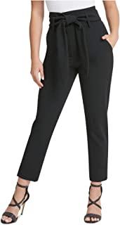 DKNY 女士黑色束带拉链口袋裤尺码 12