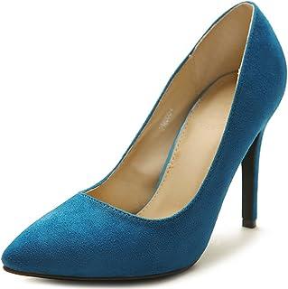 ollio 女式麂皮绒点头鞋高跟多色泵