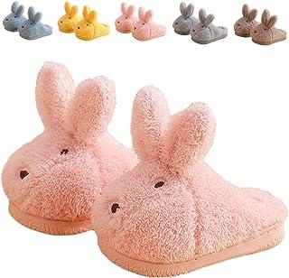 ZHENTAO 幼儿女孩拖鞋男孩女孩蓬松家居拖鞋冬季温暖室内可爱兔子鞋