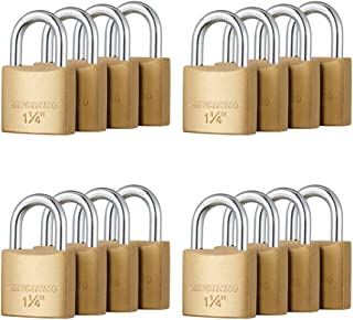 CINCINNO 小黄铜挂锁带钥匙,钥匙挂锁带 1-1/4 英寸(30 毫米)宽锁体,2.6 英寸长扣,适用于棚屋、储物室、学校健身房储物柜、工具箱、防风雨挂锁 16 件套