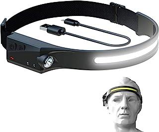 Wynboop 可充电头灯户外 LED 灯露营灯 230° 照明带波浪感应,闪光灯,适用于钓鱼、徒步、跑步、修理、夜灯、防风雨