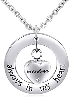 TGLS Mom Dad Grandma Sister Brother Cremation Urn 珠宝灰烬 Always in My Heart 纪念项链吊坠,适合家庭使用