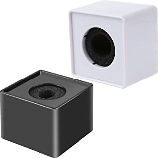 AnFun 2 件便携式方形立方体面试麦克风旗帜站标志高级 ABS 材料,黑色和白色