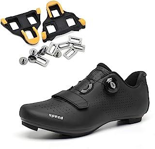 女式公路自行车鞋包括三角防滑钉,室内锻炼旋转Peloton 自行车鞋 SPD-SL 锁定自行车鞋 004_黑色带鞋钉 11 Women=EU 44